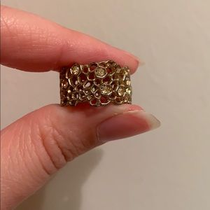 Gold plated Honeycomb ring w/ Swarovski crystals